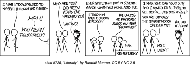 "XKCD cartoon: ""Literally"""