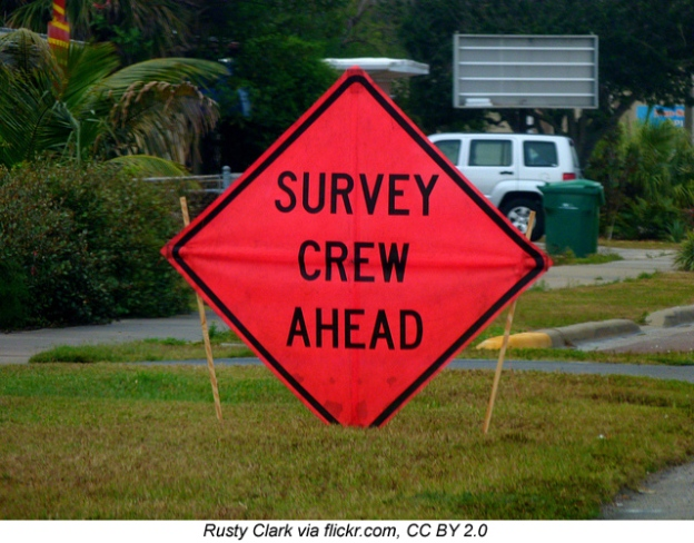 "Sign: ""survey crew ahead"""