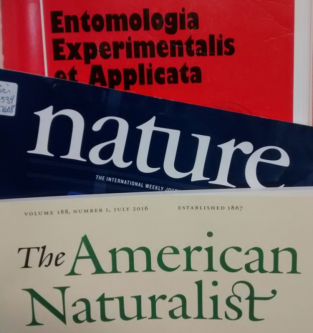 Some journal covers - Nature, American Naturalist, Entomologia Experimentalis et Applicata