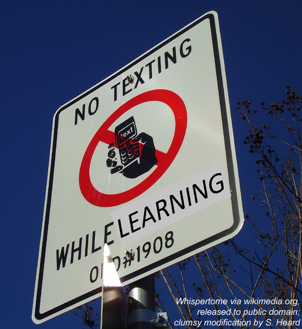 "Sign: ""No texting while learning"""