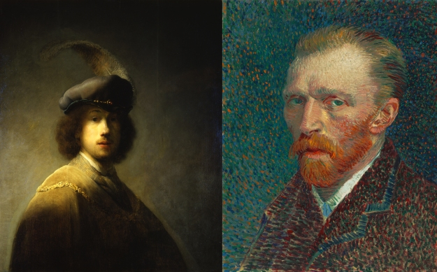 Two famous portraits: Rembrandt and Van Gogh
