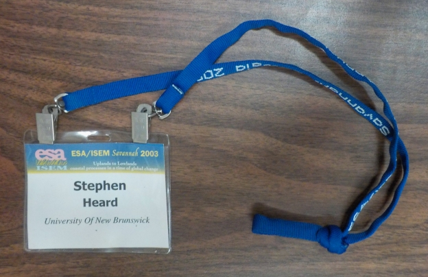 Nametag with knotted lanyard