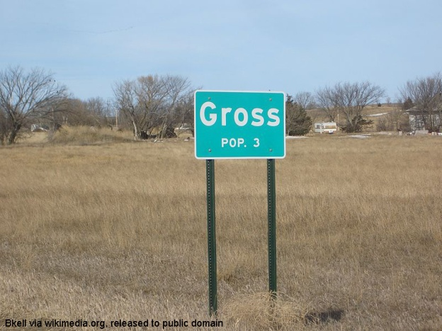 Populations sign for Gross, Nebraska (population 3)